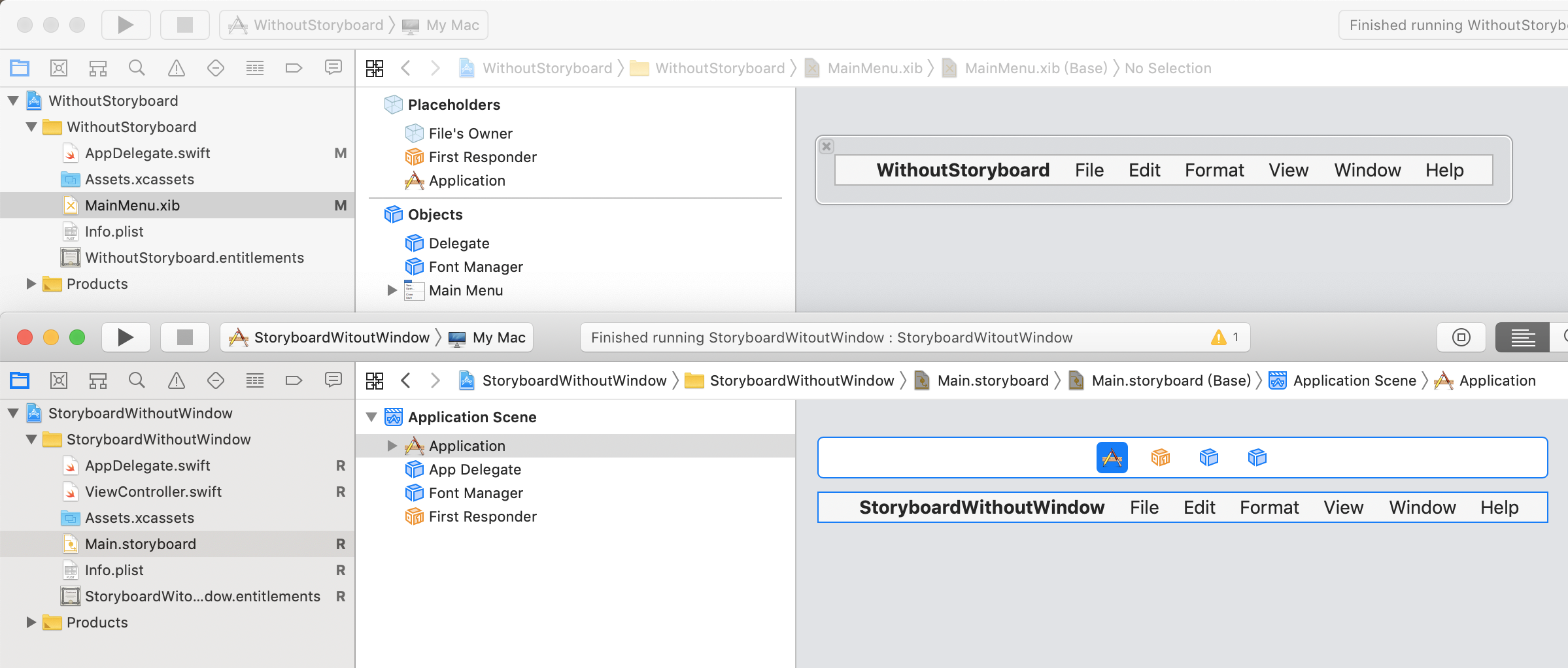 Storyboard and xib in Xcode